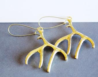 Rustic Deer Antler Earrings in Gold, with Kidney Earwires
