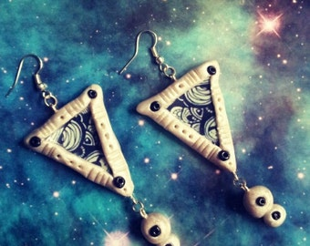 Black and white cosmic tribe alie earrings
