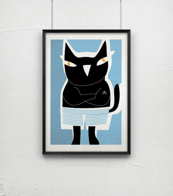 Black cat in blue shorts- Cat poster 6 - art print by nicemiceforyou