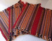 Vintage Set of 6 Guatemalan Woven Cotton Textile Petite Dinner or Cocktail Napkins / Loom Woven Fabrics Textiles from Central America