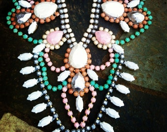 Art Deco Custom Vintage Wedding Rhinestone Statement Necklace -