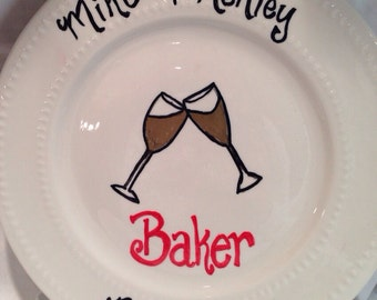 Monogrammed Wedding Plate, Hand Painted with Names, Date of Wedding and Champagne Glass, Wedding Gift, Personalized Wedding Gifts