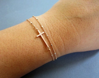 Sideways Cross Bracelet, Rose gold cross bracelet, Layered Bracelet, Christian Jewelry, Cross Bracelet, Dainty jewelry, Side Cross Bracelet