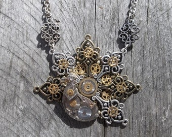 The Clockwork Peacock - Steampunk Clockpunk Pendant Necklace, Wearable Art Sculpture, Gears with Filigree Cable Link Chain