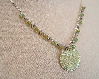 Light green lace necklace by Cerise Jewelry