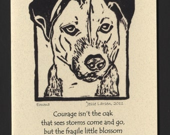 Card. Dogs. Emma, terrier-mix  block print by Jesse Larsen on quality blank card w/Marie Frando quote. Free US shipping. Soulful.