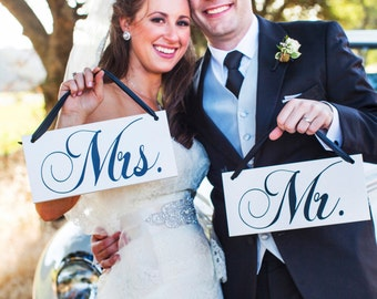 Mr. Mrs.Wedding Signs, Chair hanger Signs, Wedding Photo Prop, Double sided,