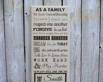 wood family last name house rules sign custom house rules family rules last name signs wood home decor signs