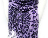 Purple Scarf. Leopard Shawl. Viscose Scarf. Animal Print Scarf. Gift for Her. Very Soft Scarf. Velvet Scarf. 25x70in (65x180 cm) Ready2Ship.