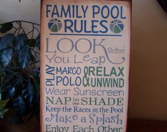 FAMILY POOL RULES Wooden Primitive Typography Sign