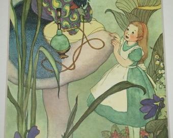 "Alice in Wonderland ""The Caterpillar"" 1957 Book Illustration"