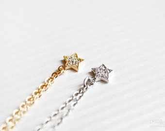 teeny star - dainty, delicate, minimalist bracelet - gold or silver and crystals, christmas gift for her
