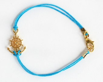 Anchor bracelet, nautical bracelet, anchor rudder bracelet, gold anchor, turquoise string bracelet, summer bracelet, best friend gift