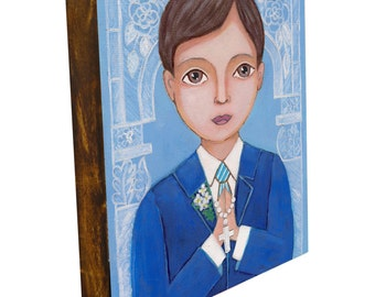 First Communion Boy , Print mounted on Wood, The size of the print is 7.2 x 9.5 inch , Mixed Media, Wall Decore by Evona
