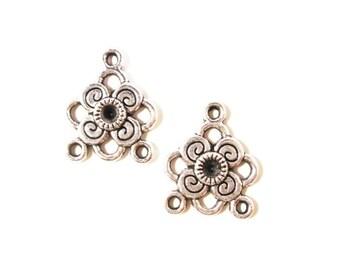 Chandelier Earring Findings 21x16mm Antique Silver Tone Metal Charm Pendant Earring Connector Jewelry Making (Jewellery) Making Findings 6pc
