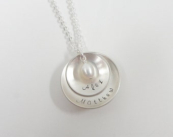 Personalized Layered Necklace - Hand Stamped Mommy Necklace - Sterling Silver Domed Disc Necklace - Custom Jewelry