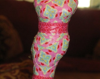 Pink and Blue Embellished Decoupaged Washi Tape Paper Mache Mannequin Ornament