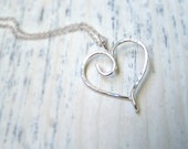 Hammered Sterling Silver Heart Charm Ring Holder Pendant Necklace Mother Grandmother Birthstone