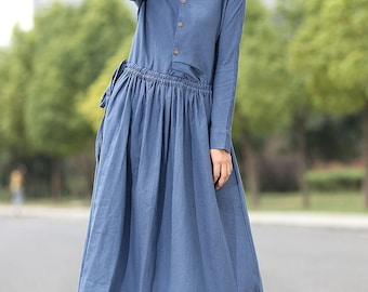 Maxi Linen Dress in blue / Long linen blue dress / - C267