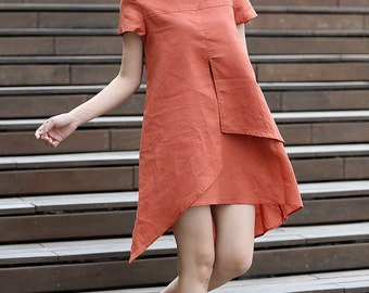 Linen Dress, mini dress, orange dress, linen dress, tunic dress, tunic dress linen, dress, shirt dress, plus size dress, summer dress C275