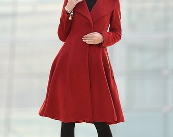 Wine Red Swing Coat - Classical Style Knee Length with Large Lapel Collar Fitted Waist and 2 Side Pockets C204