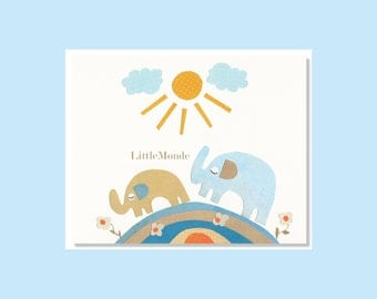 Baby Boy Nursery Prints, Unisex, Neutral Nursery Prints, Elephants Nursery Print, Blue and beige Nursery, Modern Nursery Prints,