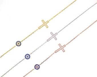 Dainty Evil Eye Cross Bracelet-Rose Gold