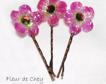 Three Glittered Round Blossom Hair Bobby Pins with Crystal Center- Handmade Floral Headpiece