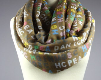 Teacher scarf, Alphabet infinity scarf, light summer scarf, ABC loop scarf, Beige