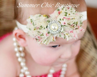 SALE Baby Headband, Infant Headband, Newborn Headband, Shabby Chic Vintage Headband Cream Floralm Headband