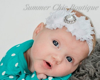 Baby Headband, Infant Headband, Newborn Toddler Headband, Christening Headband, Baptism Headband White Headband, Lace Headband