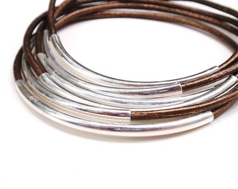 Bronze Leather Bangle Set, Leather Bracelets for Women, Silver Tube, Leather Jewelry, Bohemian Jewelry, Boho Jewelry, Genuine Leather