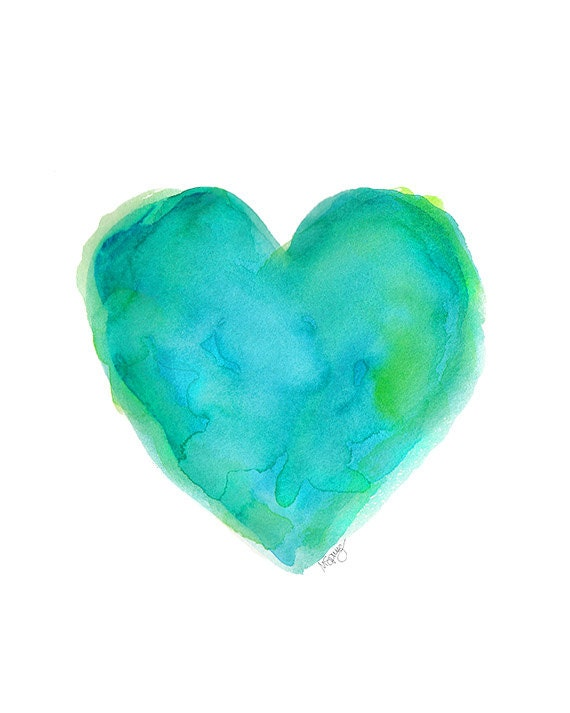 Turquoise Heart 8x10 Watercolor Print Beach By