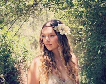 ALINA Romantic rustic flower crown, magnolia flower crown, wedding hair accessories, halo crown, floral headband, flower headpiece