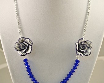Bright Blue Crystal and Dark Blue Flower Necklace