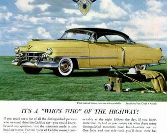 1950s Cadillac Ad Jeweled V Crest Van Cleef and Arpels 1952 Yellow Cadillac