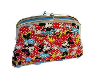 Kiss lock coin purse, Cute red and white polka dots and minnie mouse design - Turquoise two section or compartments