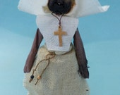 Uusual NUN DOLL with dried apple head and corn husk body from the Seventies