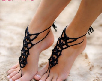 Black Barefoot Sandal, Feet thongs, Crochet Foot jewelry, Women's Fashion Accessory Nude shoes, Gift for her, Wedding shoes, Beach Wedding