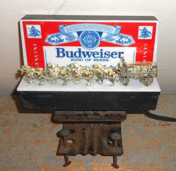 Vintage Bar Light Budweiser Beer Anheuser Busch Clydesdale