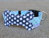 Dog Collar - Light Blue and Grey Plaid with Grey Dot