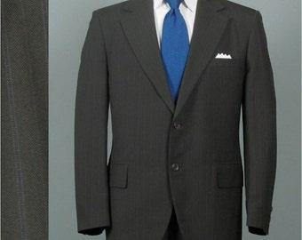Vintage Mens Suit 1960s 1970s Olive Green Pinstripe Lightweight Mens Vintage Suit Size 41/42
