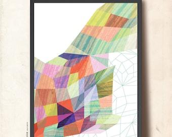 GEOMETRIC Art Print, Geometric Poster A3, Abstract Wall Art, Precious Stone Net. Geometric Art Print, TANGRAMartworks