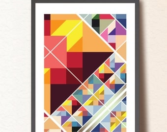 Geometric print. Geometric art print.  Colorful retro poster. Abstract wall art A3. Mid Century Modern poster. TangramArtworks