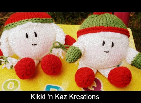 Baby's Knitted Snowball  Twin Dolls
