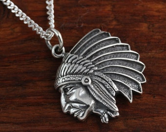Sterling Silver Indian Head Chief pendant Sterling Silver chain & leather, Justin Bieber new tattoo Indian Chief head, Catches eyes Jewelry.
