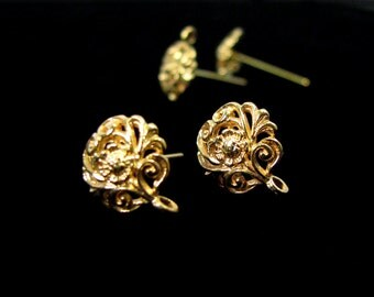 SALE Elegant Vermeil Earring Posts with Clutch 1 Pair Floral Design EP2021