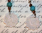 Swiss Lace Earrings, Romantic  Flower Lace with turquoise marbled beads