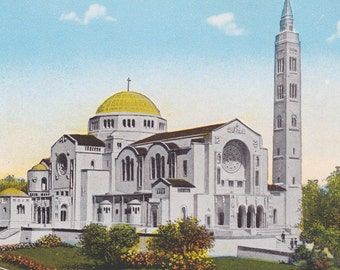 WASHINGTON DC - SHRINE of the Immaculate Conception, Vintage Postcard, Unused, 1920s, Reynolds Co.