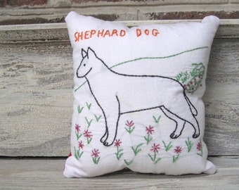 Vintage Embroidery Pillow with Quilt Backing -  Shephard Dog